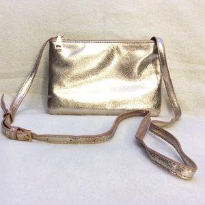 Cute MMS glittery double zip crossbody purse